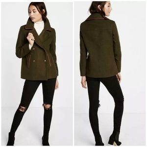 NEW Express Military Green Peacoat Red Piping
